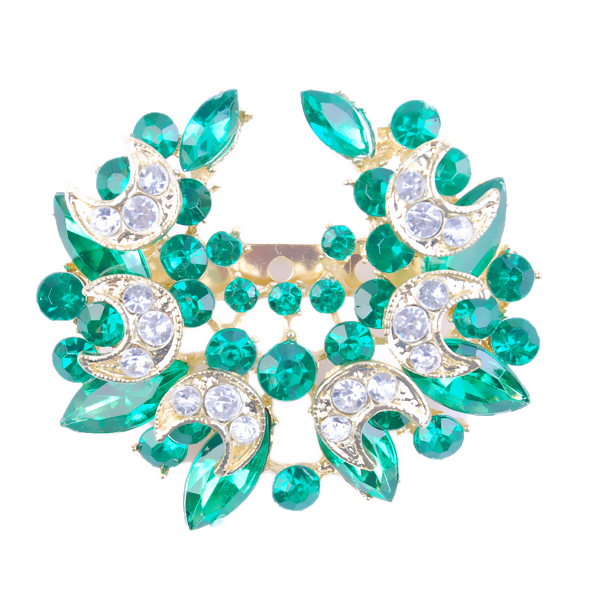 Green Austria Crystal Rhinestone Wreath Garland Hat Brooch