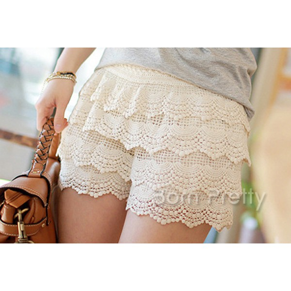 Sexy Creme Lace Shorts